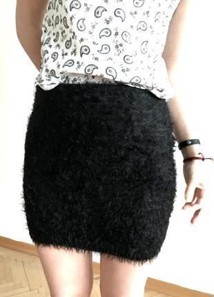 Актуальная короткая юбка травка черная