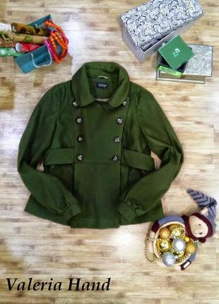 Шерстяное укороченное пальто topshop - свободный крой - размер 44