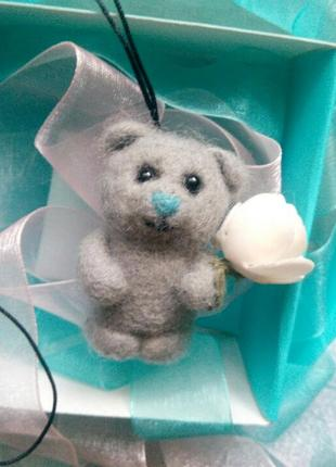 Брелок мишка медвежонок тедди тэдди сухое валяние