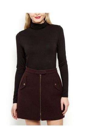 Шерстяная тёплая юбка с молнией впереди, стильная твидовая бургунди