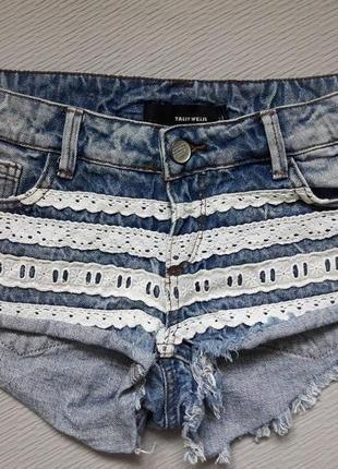 Классные короткие джинсовые шорты с кружевом tally weijl