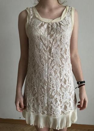 Нежное домашнее платье с кружевом