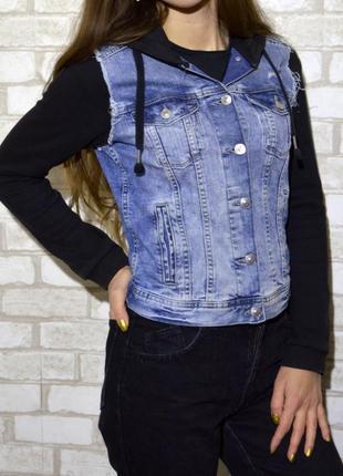 Оригинальная джинсовка джинсовая куртка с рукавами от кофты с капюшеном h&m