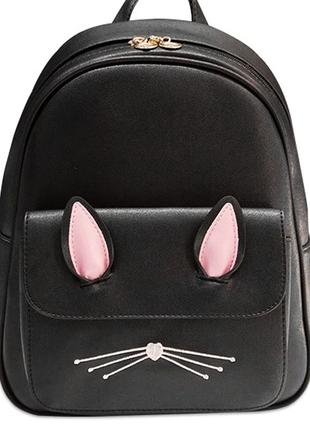 Рюкзак черный кожаный однотонный с кошачьими ушками и усами вместительный