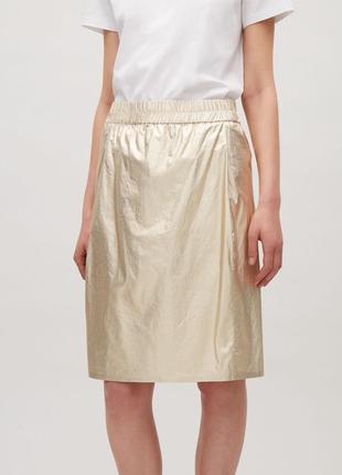 Cos юбка летняя средней длины с карманами золотистая шимер размер м 38