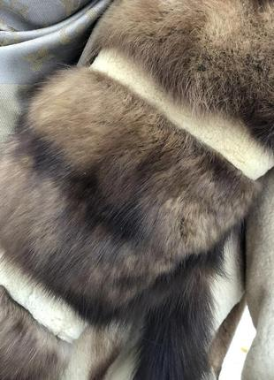Шикарный норковый полушубок с воротником из соболя5 фото