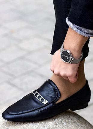 Шикарные кожаные туфли мюли мокасины