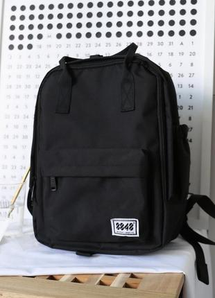 Рюкзак-сумка черный однотонный с ручками унисекс вместительный