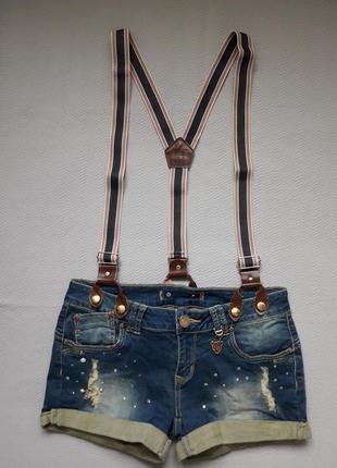 Суперовый стрейчевый джинсовый комбенизон со стразами и потёртостями