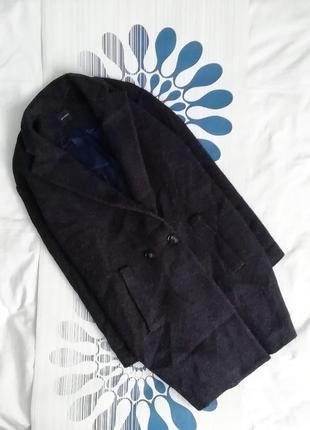 Пальто promod шерсть шерстяное синее синє бойфренд оверсайз oversize кокон классическое