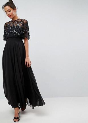 🔥скидки🔥новое шикарное вечернее черное платье в пол макси asos с пайетками и бисером
