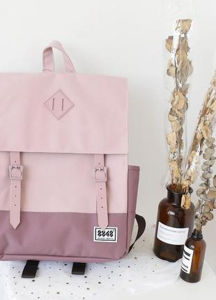 Рюкзак пудровый с фиолетовым на ремешках вместительный винтаж ретро