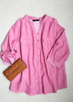 Льняная стильная рубашка, размер xl
