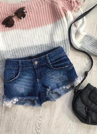 🌿 синие базовые джинсовые шорты с кружевом tally weijl