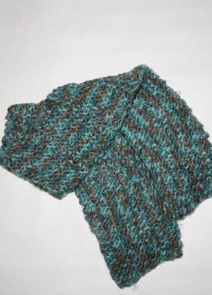 Бирюзовый вязаный шарфик в отличном состоянии