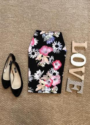 Плотная красивая юбка в цветочный принт h&m