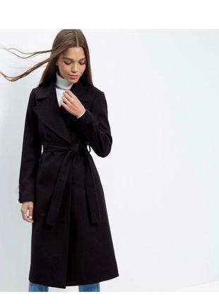 Невероятное тёплое шерстяное пальто на запах с поясом оверсайз, длинное