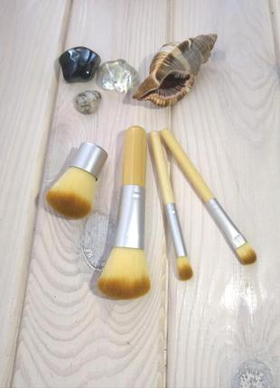 Акция ❤ кисти для макияжа набор эко бамбук 4 шт