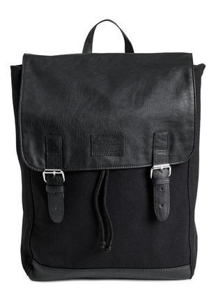 Рюкзак h&m с кожаными вставками из хлопкового холста.