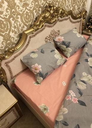 Комплект постільної білизни з квітковим принтом4