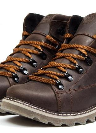 Зимние ботинки на меху cat caterpilar, коричневые
