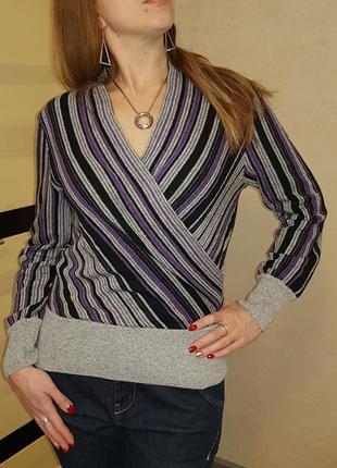 Стильный элегантный джемпер пуловер с запахом,