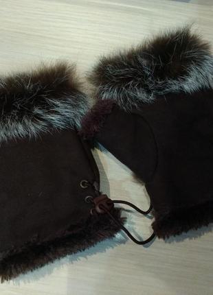 Меховые перчатки митенки