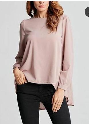 Шикарная блуза сзади с плиссировкой цвета пыльной розы бренда zanzea