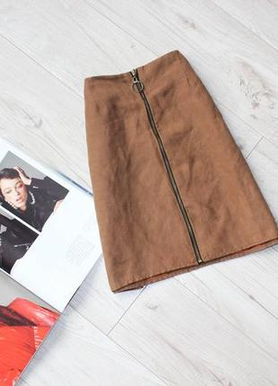 Красивая юбка трапеция под замш коричневая замок кольцо хс с 6