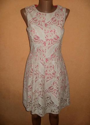 Нарядное кружевное платье р.10 , евро 38