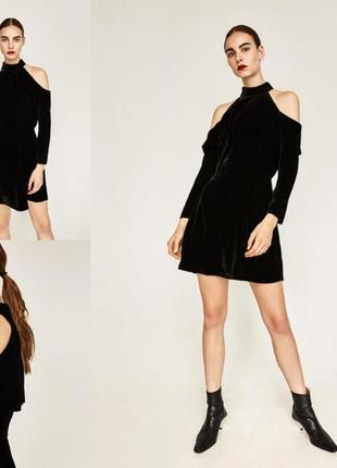 Трендовое бархатное платье от zara c открытыми плечами