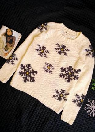 Теплый с добавлением шерсти свитер в снежинки с камнями размер 8(40-42)