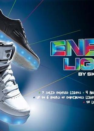 Кожаные кроссовки skechers energy lights с led -  размер 33 - стелька 21 см2