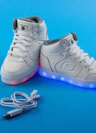 Кожаные кроссовки skechers energy lights с led -  размер 33 - стелька 21 см1