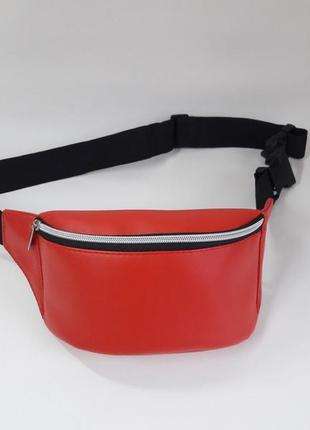 Красная женская бананка сумка на пояс, плече с экокожи