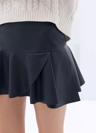 Кожаная юбка с воланом zara