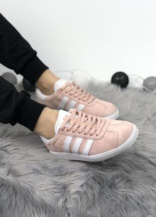 Нежные женские весенние кроссовки adidas gazelle pink