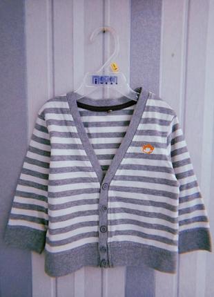 Джемпер кофта серого цвета в полоску 1-1,5 года