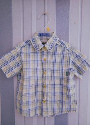 Рубашка в клетку для мальчика 9-12 мес