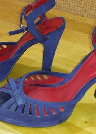 Босоножки замшевые braska на высоком каблуке, 38 размер