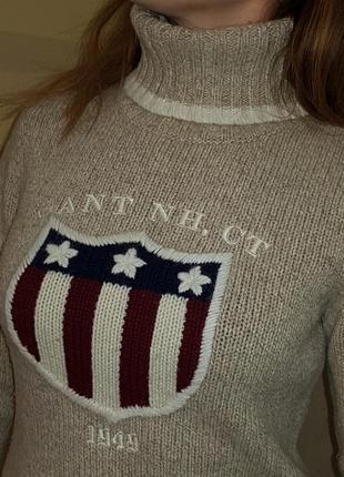 Невероятно теплый шерстяной брендовый свитер gant с высоким воротом