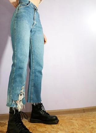 Джинсы высокая посадка lee mum's fit jeans мом синие голубые плотные