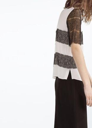 Zara блуза с кружевом