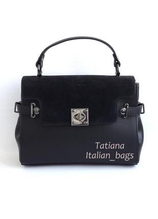 Кожаная сумка портфель с замшевым верхом, черная. италия