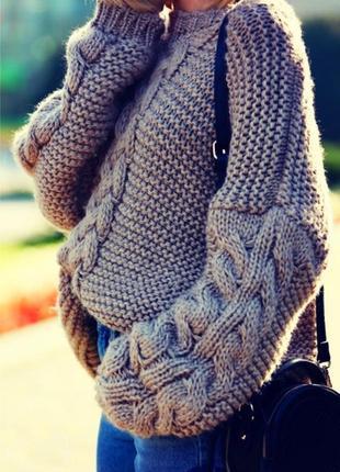 Объёмный меланжевый джемпер/свитшот кольчуга с косами оверсайз oversize m&s woman.