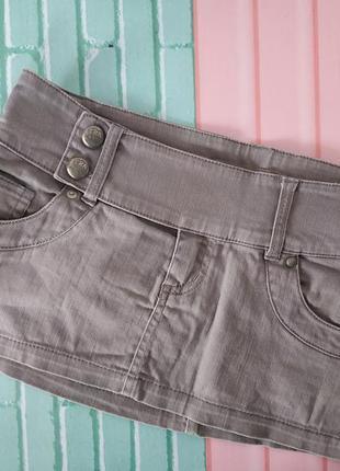 Юбка джинсовая серая