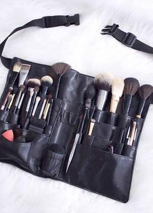 Чехол для кистей на пояс (пояс визажиста) shany makeup artist brush belt - leather