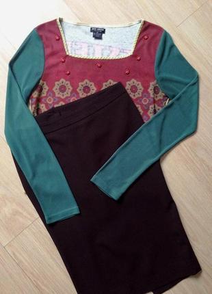 "Комплект ""pepe jeans"": юбка-карандаш и обрезанный топ с бисером - s/м"