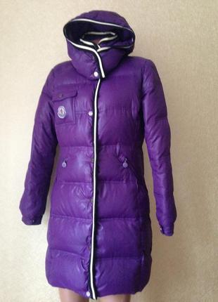 Пуховик фирменный moncler куртка карточка 44 46 m l пальто фиолетовый