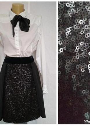 Шикарная брендовая юбка,декор пайетки и бархат,р.36